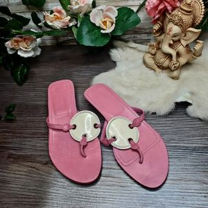 Tods pink white leather thong sandals circle 6